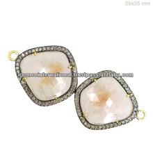 Conector Elegante con Diamantes Conector de Joyeria en Oro Amarillo de 14k y Plata Esterlina 925 Joyeria de Piedras Preciosas