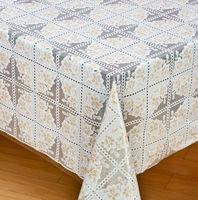 PVC printed easy clean anti slip white plastic tablecloth