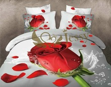 100% cotton flower 3D bedding set white bedsheet with roses