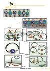 14K Solid Gold Turkish Colored Evil Eye Ceramic Amulet Leather Rope Bracelet