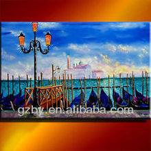 2014 Venice SUNSET GONDOLAS ITALY OIL PAINTING ART ORIGINAL