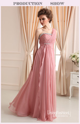 Luxury elegance one shoulder A-Line floor-length crystal beading pink evening dress 2014 chiffon evening prom dresses