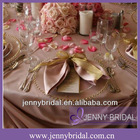 NP008D Gold organza tie and blush taffeta table cloth and table napkin