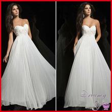 Hot Sale Sweetheart Applique Beaded Empire Waist Pleated Chiffon Long White Prom Dress