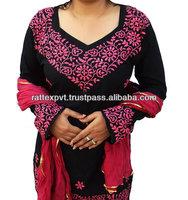 Summer dress Black Tunic Kurta Pure Cotton Stole Dupatta Chikankari Embroidery beach 2013