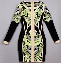 nuovo design abito benda 2014 bodycon ingrosso manica lunga ricamo abito da sera le donne inverno