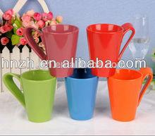 11OZ ceramic solid color glaze coffee mugs with special handle