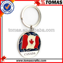 Promotional Gifts Activity Travel Souvenir Popular Canada Flag Key Ring Custom Metal Promotional Keychain