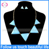 2014 Fashion Accessories Bule Triangle Pendant Gold Chain Geometric Shape Jewelry Set
