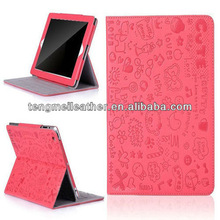 New arrival girl cute romantic PU Leather Case Cover Stand For apple iPad 2 3 4,Wallet cover case for ipad,For ipad case cover