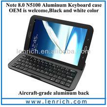 LBK526 Samsung Galaxy Note 8.0 Keyboard Dock Smart Case Accessory Aluminum Bluetooth 3.0 Wireless Keyboard for N5100 4G LTE