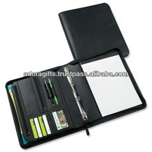 top quality file folder a4 size / office stationery file folder / genuine leather portfolio folder with pen & card holder