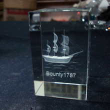 crystal 3d laser ship cube,3d laser crystal photo cube bounty 1787 MH-F0294