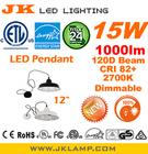 "8180-ES US Market ETL EnergyStar LED pendant lamp 12"" Size dimmable 15W 1000lm 2700K NICHIA 757 CRI 82+ Brushed Nickel"