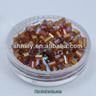 Wholesale New Trend 11/0 Rainbow Glass Bugle Beads For Jewelry Making GSB-2RB02