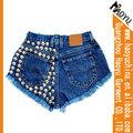 Novo design do sexo mulheres jeans 98% 2% algodão spandex studded shorts jeans de alta qualidade do sexo short jeans( hys267)