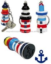 Lighthouse Shape Key Holder with Anchor Shape Stamp (Black / Light Blue / Navy)