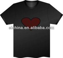 musical light up el t-shirt with heart design