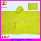 0.16mm neon yellow 100%PVC rain poncho/raincoat