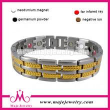 hot sale fashionable magnet ,germanium ,negative ion, FIR ,mix energy titanium bracelet