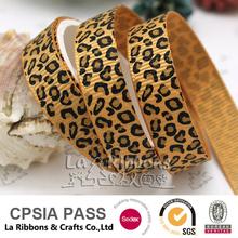 old gold leopard grosgrain printed ribbon