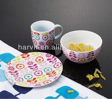China Housewares Colorful Decal Ceramic 3pcs Children Dinner Set