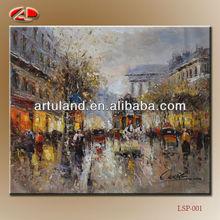 Palette knife paris street scene oil painting