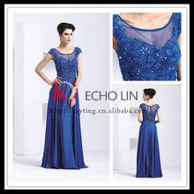 Recém projeto de manga curta bordado azul longo lace praça pescoço mãe do vestido da noiva