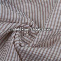 drapery soft polyester cotton stripe yarn dyed seersucker fabric
