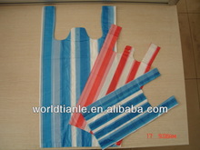 supermarket promotional shopping stripe plastic vest bag