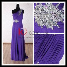élégant et sexy perlées. un- maxi épaule de mode robe de soirée longue 2013 violet. tulle robe de bal