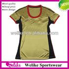 Women football shirt 2013-2014 milan golden club wear soccer jersey made in thailand