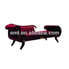 Hot hotel furniture sale Left red antique chaise lounge with soft back(EMT-LC11)