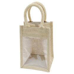 Fancy Portable PVC Wine Bag Jute Wine Tote Bag Wholesale