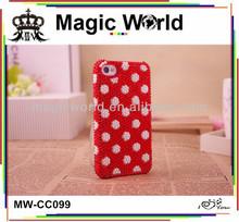 High quality custom cute dot pearl rhinestone phone case for samsung note 3