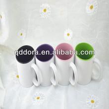 Grade A color handle and rim mug , color inside and outside mugcoated mug