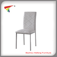 Welded Metal frame black leather dining chair