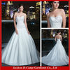 WD-2114 Fancy beaded bodice ivory drop waist wedding dress strapless patterns long train crystal beaded wedding dresses