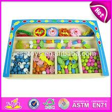 2015 New kids wooden string bead box toy, popular children string bead box, hot sale wooden baby DIY string bead box W11E003