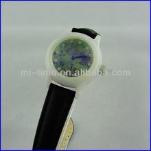 Fashion swiss movement jade luxury leather band stone face watch