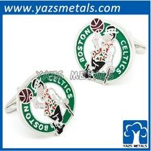 custom made copper baseketball sport cufflinks