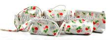 Flower cherry fruit print cosmetic bag sets women make up bag
