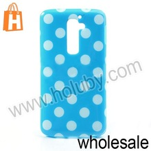 Fashion Polka Dots Flexible Gel TPU Protective Case For LG Optimus G2 D801 D802(White Dots+Blue)