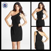 C0023 One shoulder cocktail dress patterns elegant knee length western style cocktail dress