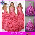 qn58 dulce princesa dos piezas caliente de color rosa vestido de bola vestidos de fiesta de quince años