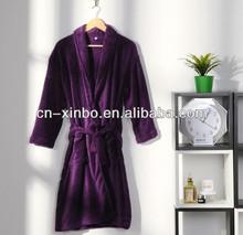 220gsm Unisex Purple Color Soft Personalized Coral Fleece Bathrobe for Both Men/Women