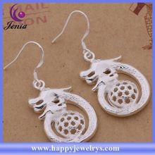 Dragon shaped fashionable earring 925 silver plated drop earrings ( AE410)