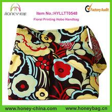 2014 Fashion Pleated Canvas Handbag Floral Printing Hobo Handbag