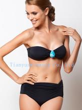 plain color bandeau top bikini swimwear beachwear