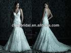 2014 High-end Lace Wedding Dresses Patterns Open Back Straps V Neck Court Train Mermaid Sequins